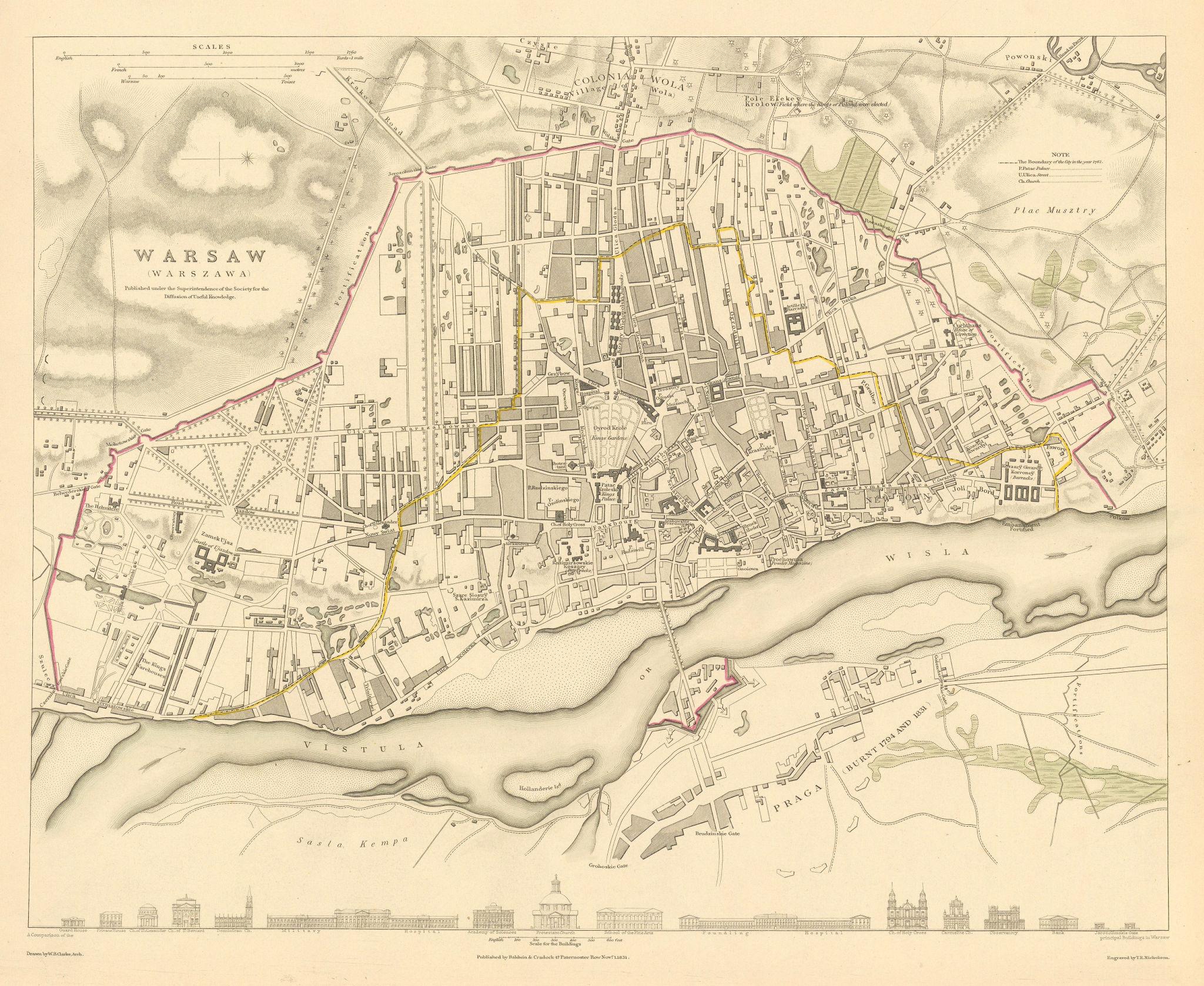 Associate Product WARSAW WARSZAWA. Antique town city map plan. Building profiles.Colour.SDUK 1844