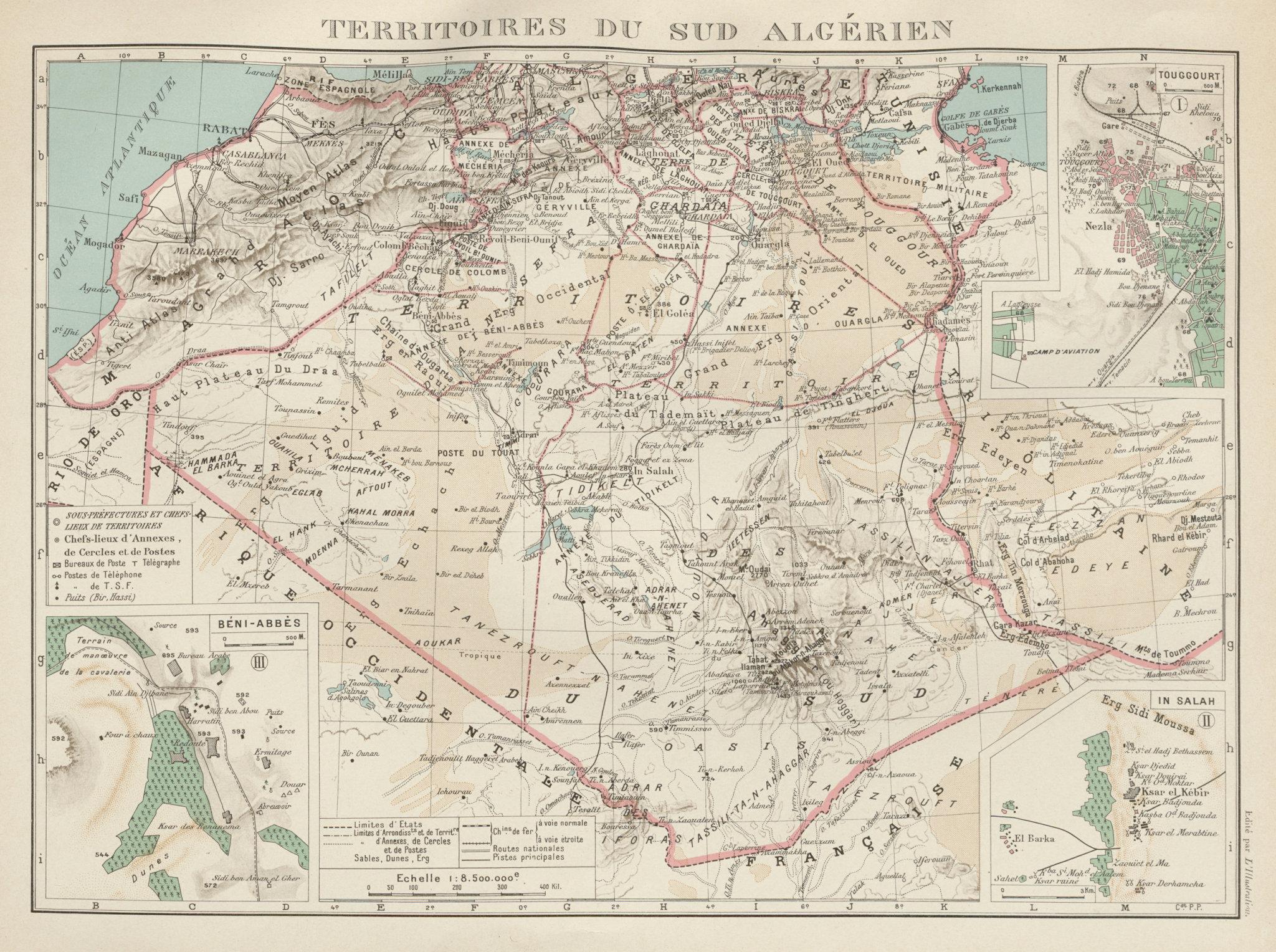 Associate Product FRENCH ALGERIA. Territoires sud Algerien. Béni-Abbès Touggourt In Salah 1929 map