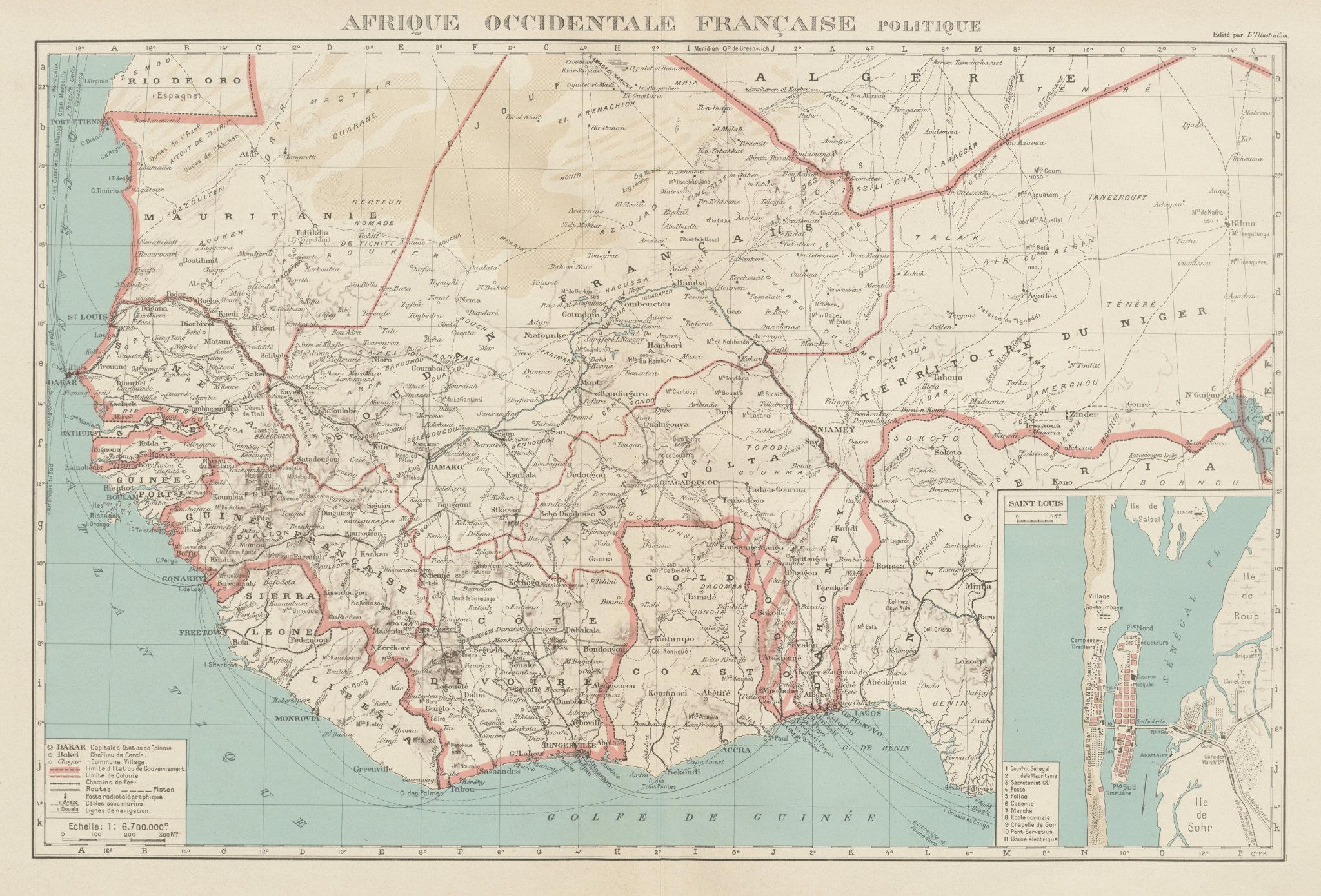 Associate Product FRENCH WEST AFRICA. Afrique Occidentale Française. Saint-Louis, Senegal 1929 map