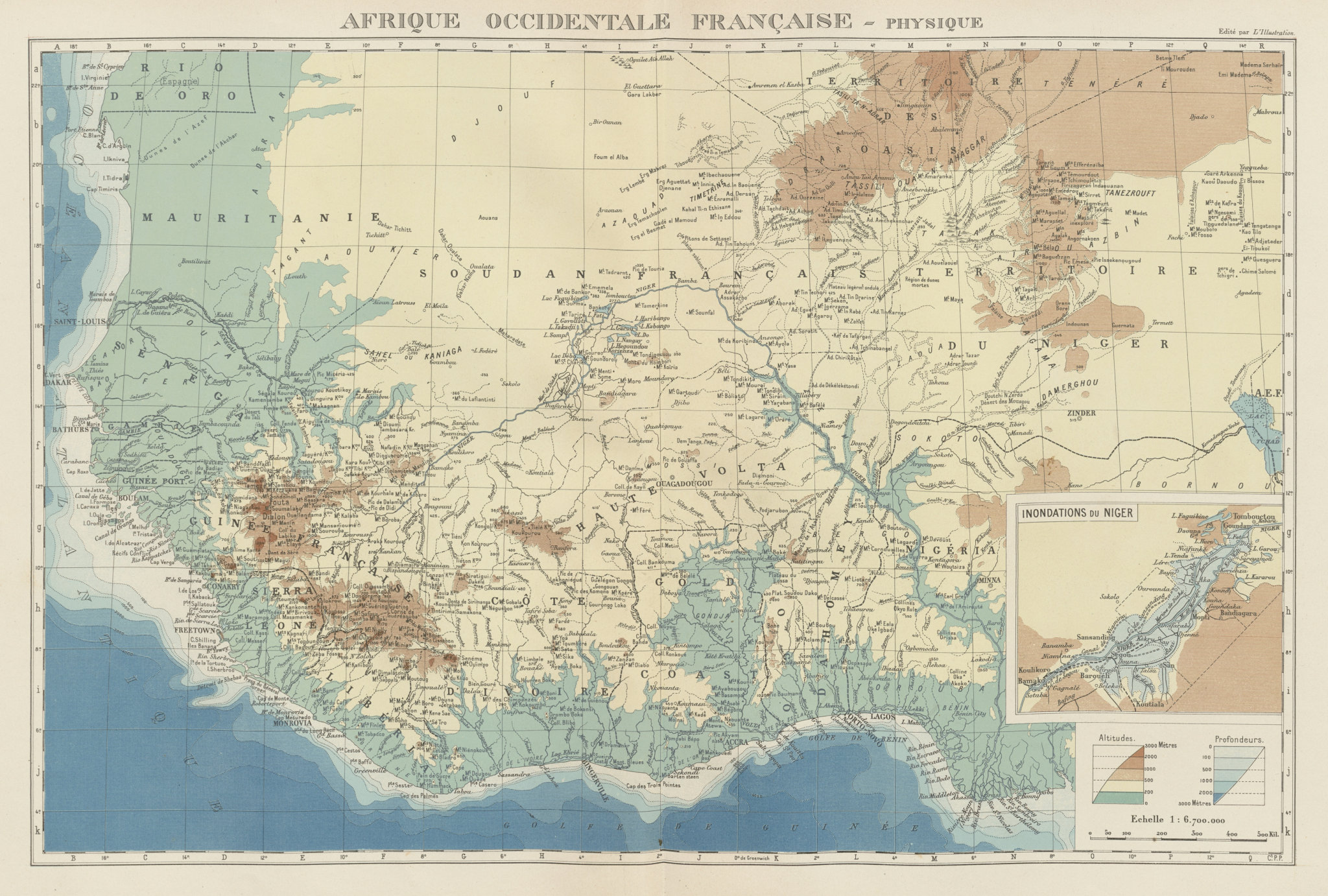 Associate Product FRENCH WEST AFRICA. Afrique Occidentale Française. Plan of Niger floods 1929 map