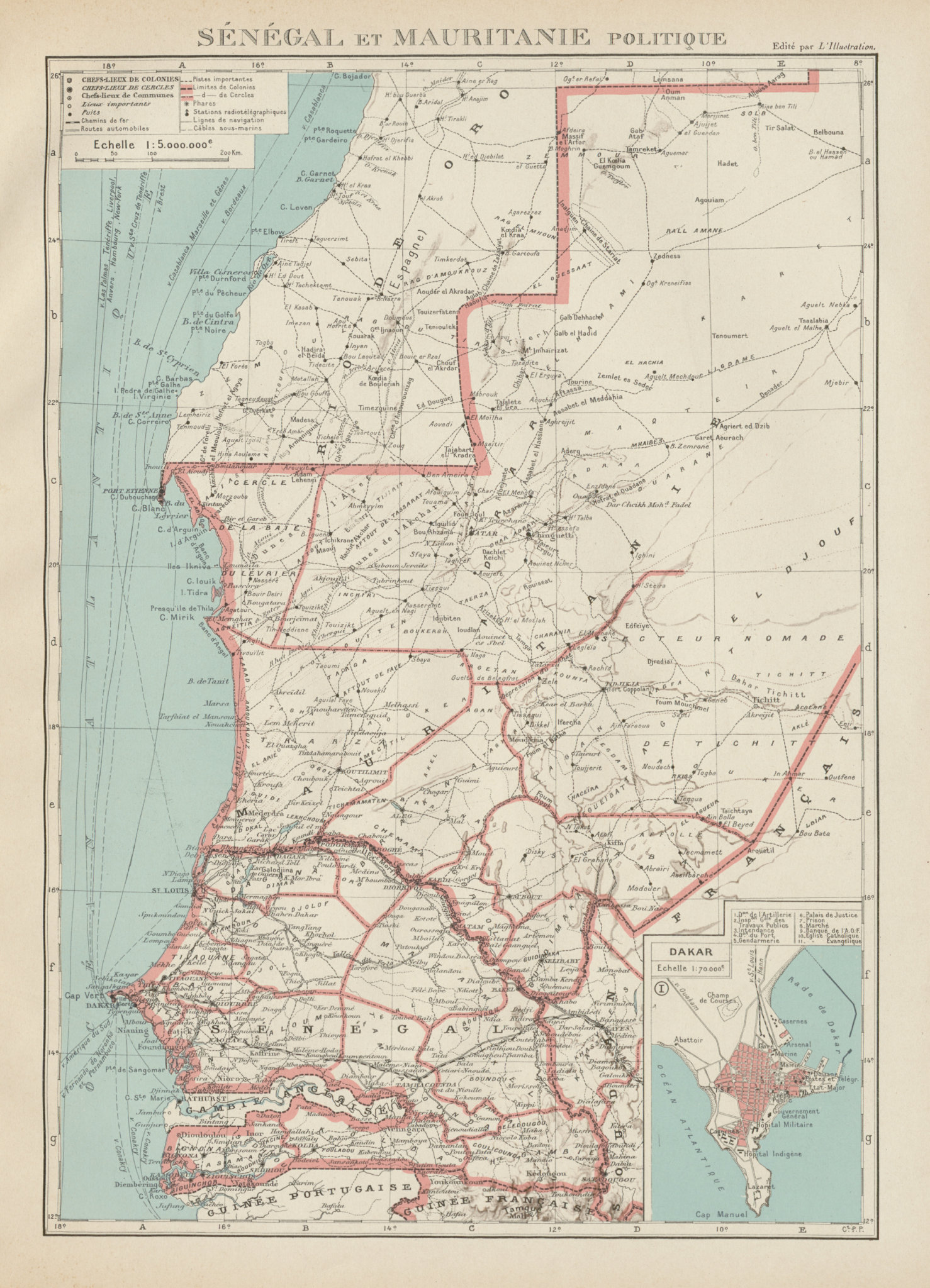 Associate Product FRENCH WEST AFRICA. Senegal & Mauritanie/Mauritania. Dakar plan 1929 old map
