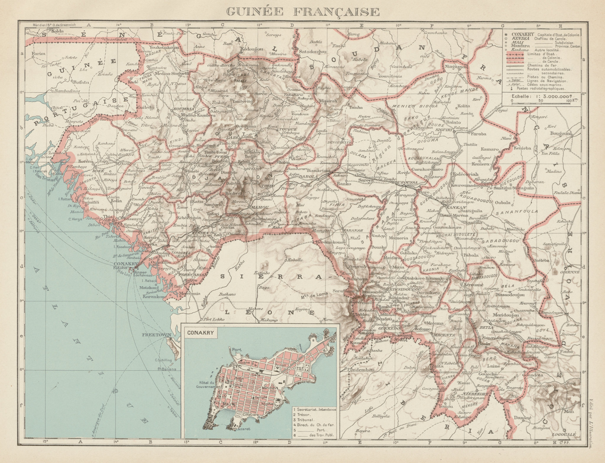 Associate Product FRENCH COLONIAL GUINEA. Guinee Française. Conakry city town ville plan 1929 map