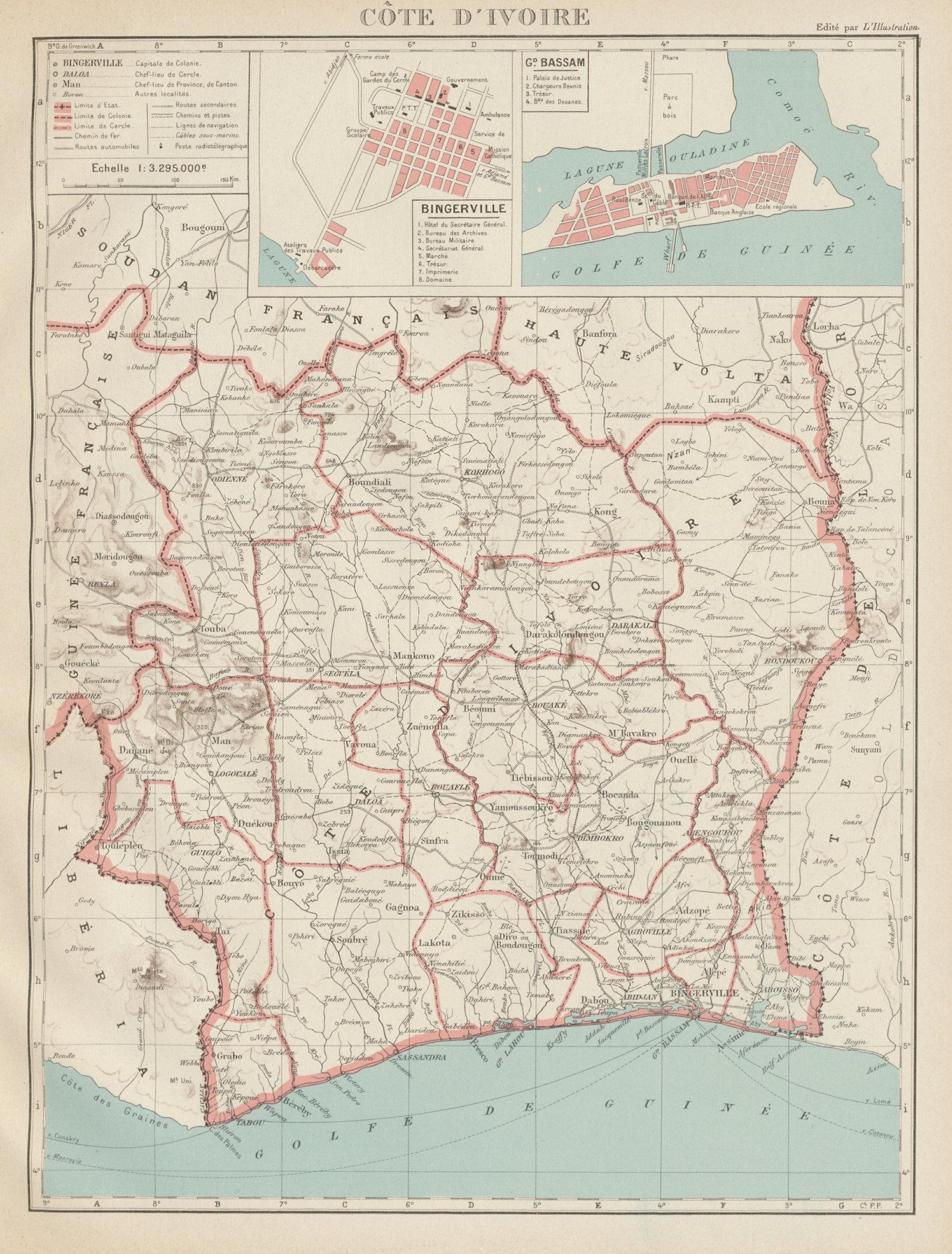 Associate Product IVORY COAST Côte d'Ivoire. Bingerville (Abidjan) Grand Bassam city plan 1929 map