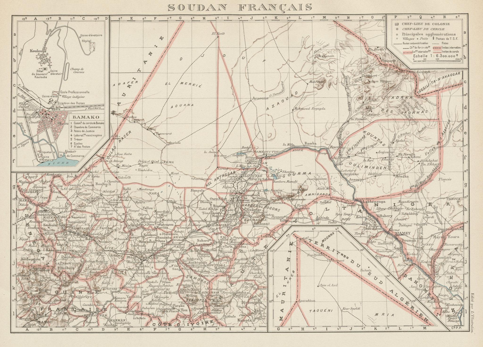 FRENCH SUDAN (Now Mali). Soudan Français. Bamako city plan de la ville 1929 map