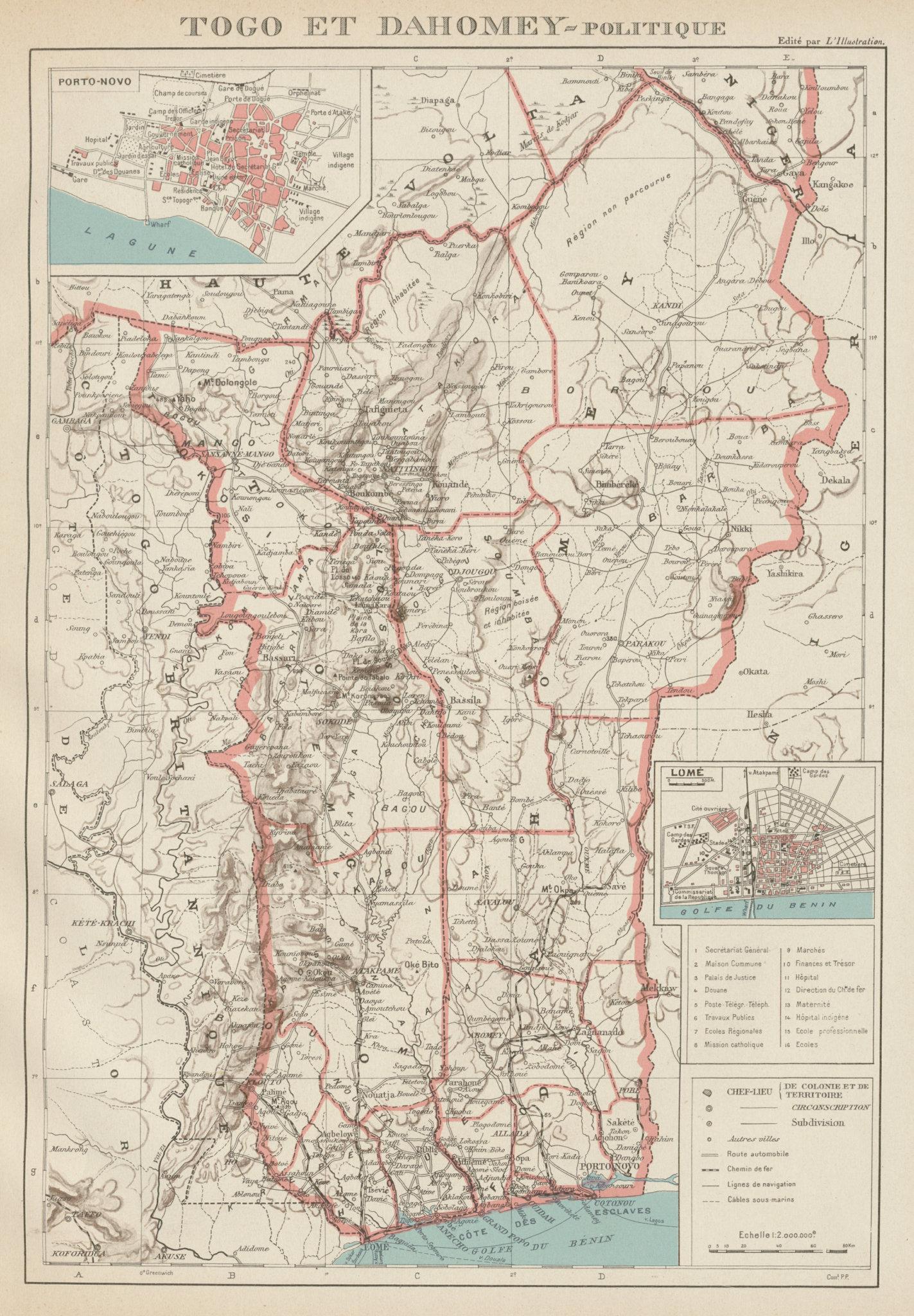 Associate Product COLONIAL TOGO & BENIN (Dahomey). Porto Novo & Lomé city ville plans 1929 map