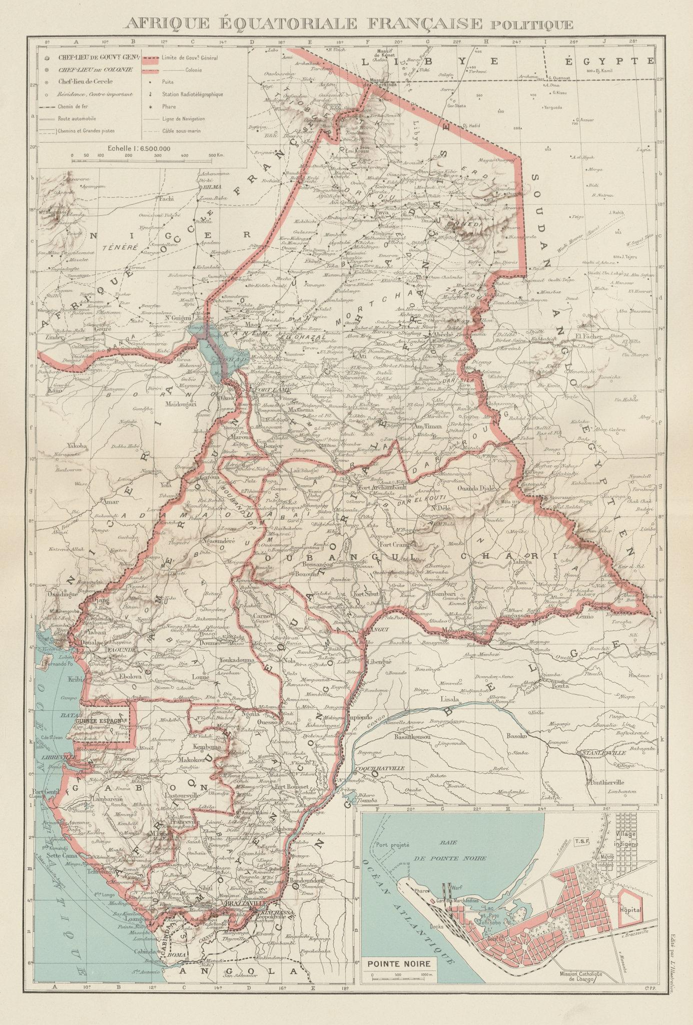 Associate Product FRENCH EQUATORIAL AFRICA. Afrique équatoriale française.  Pointe Noire 1929 map