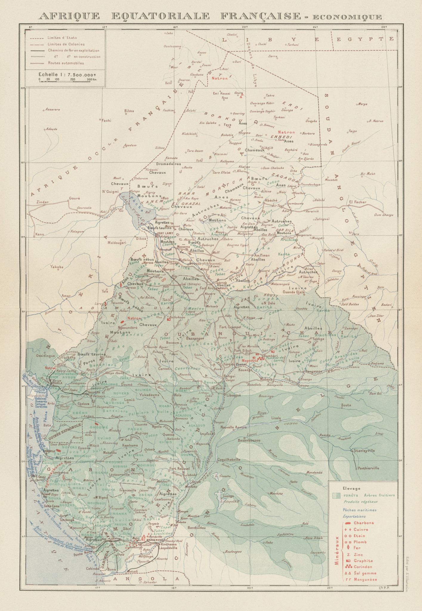 Associate Product FRENCH EQUATORIAL AFRICA. Afrique équatoriale française. Resources 1929 map