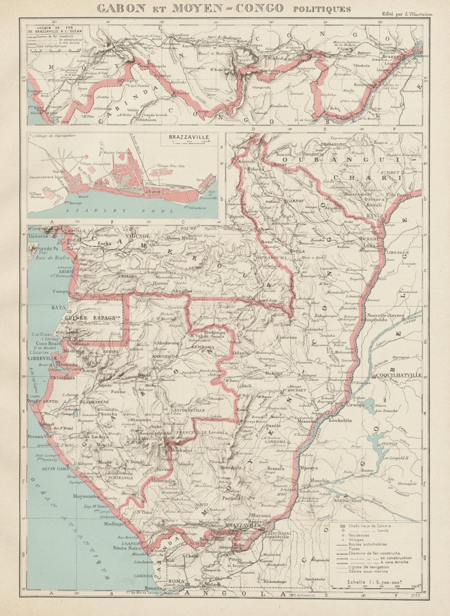 Associate Product COLONIAL GABON & CONGO. Afrique équatoriale française. Brazzaville plan 1929 map