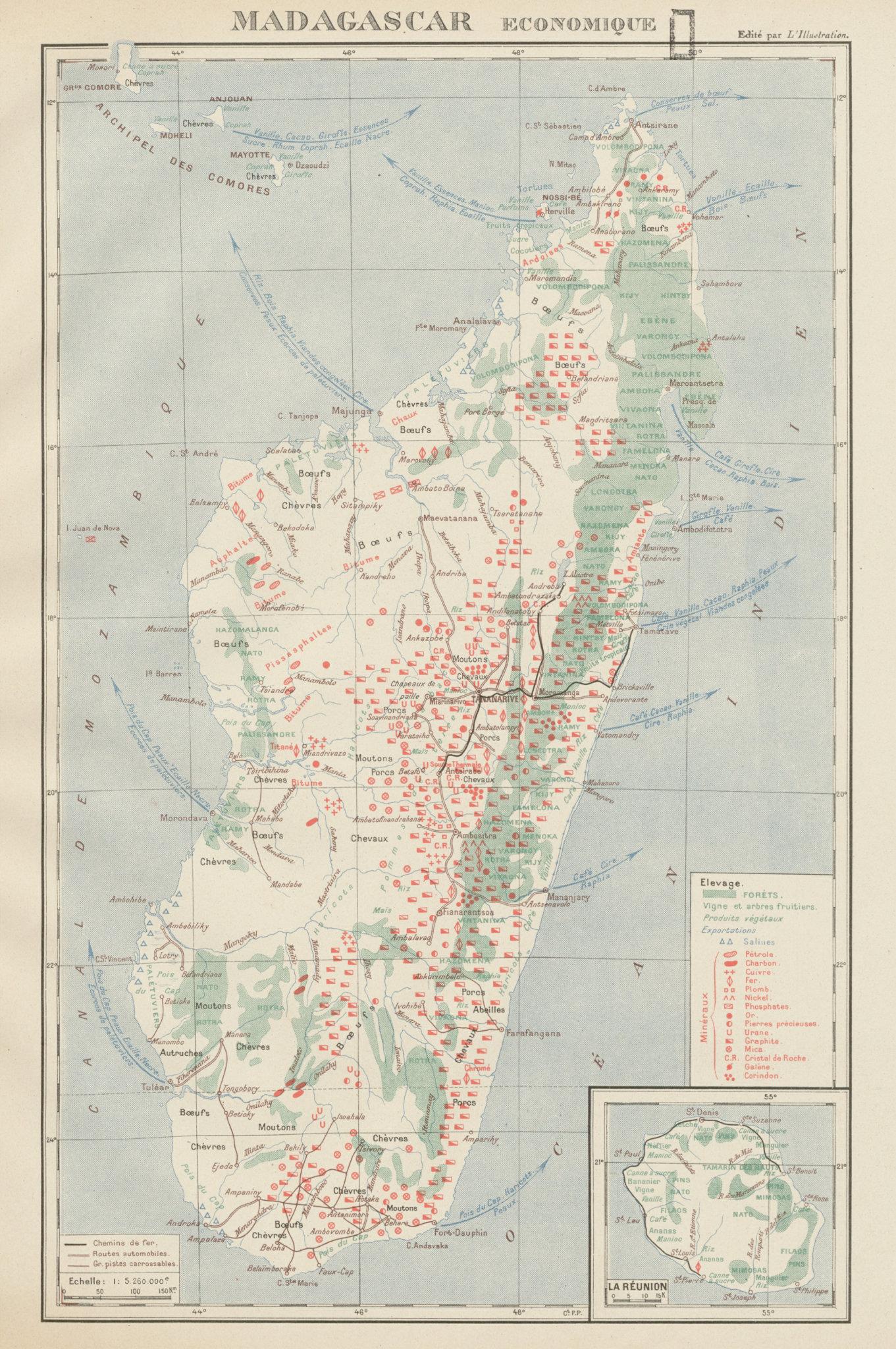 Associate Product COLONIAL MADAGASCAR RESOURCES. Minerals Economique. Inset La Réunion 1929 map
