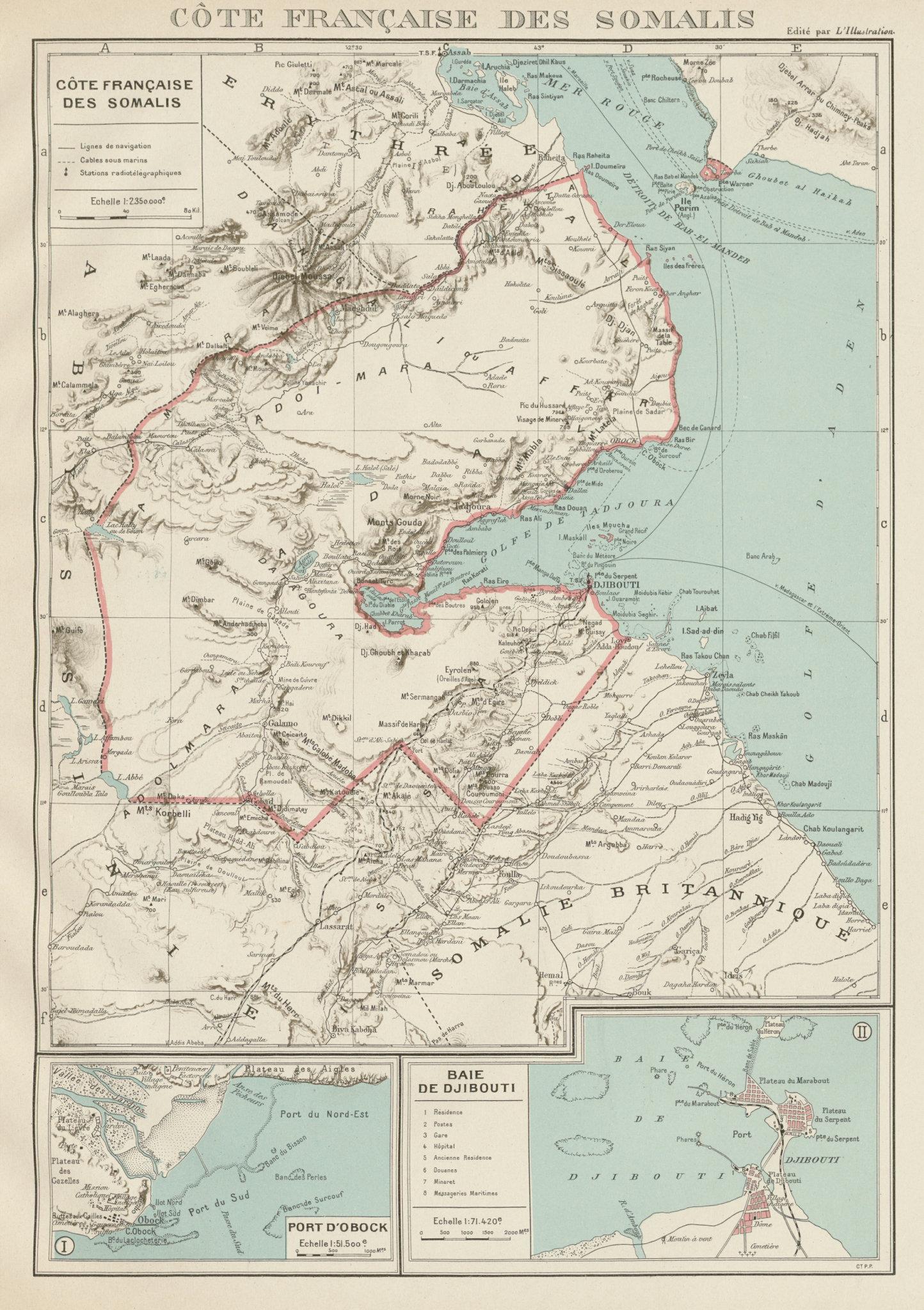 FRENCH SOMALILAND. Cote Française des Somalis. Obok & DJIBOUTI plans 1929 map