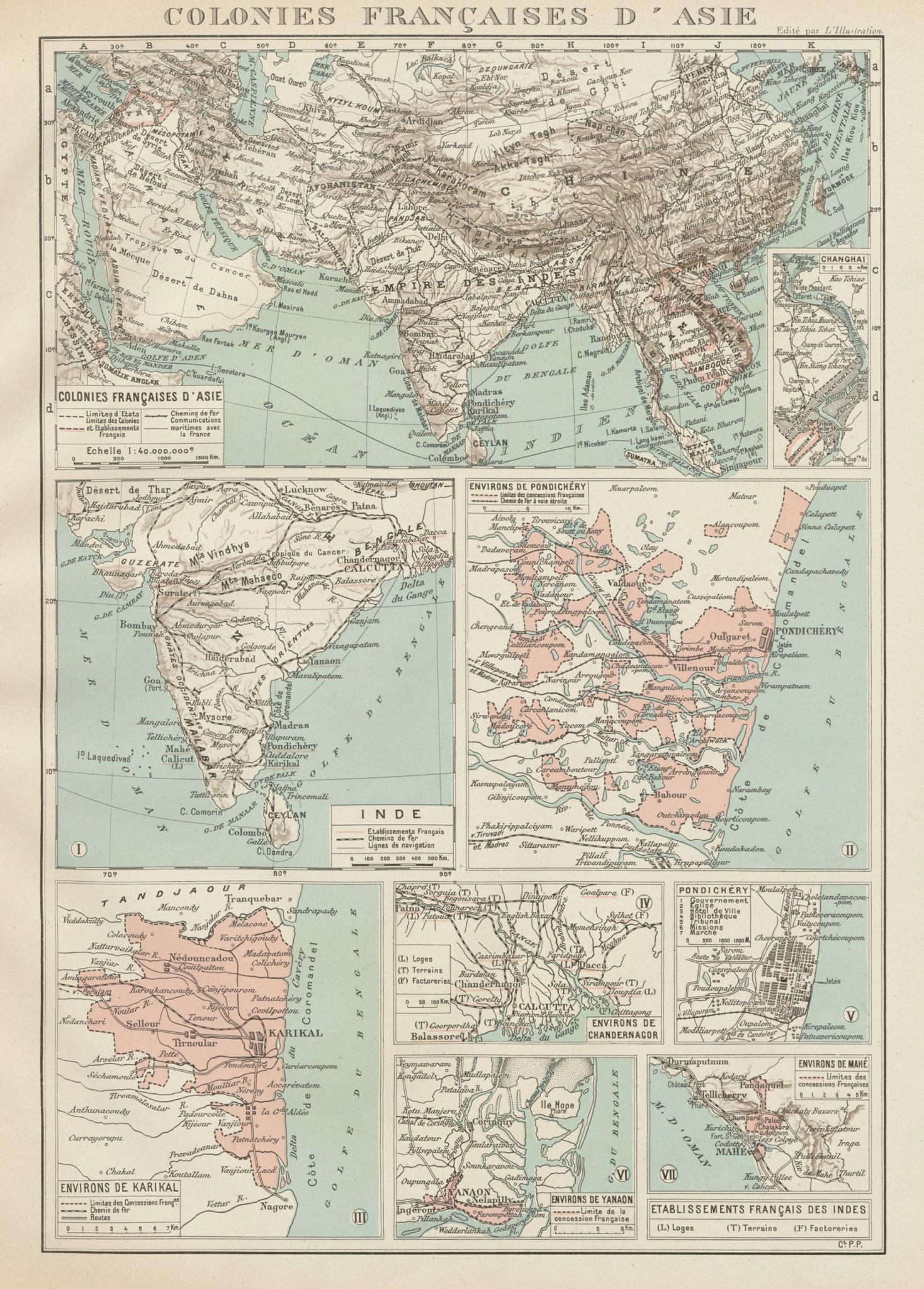 Associate Product FRENCH INDIA Indes français Pondichéry Karikal Yanaon Chandernagor Mahé 1929 map