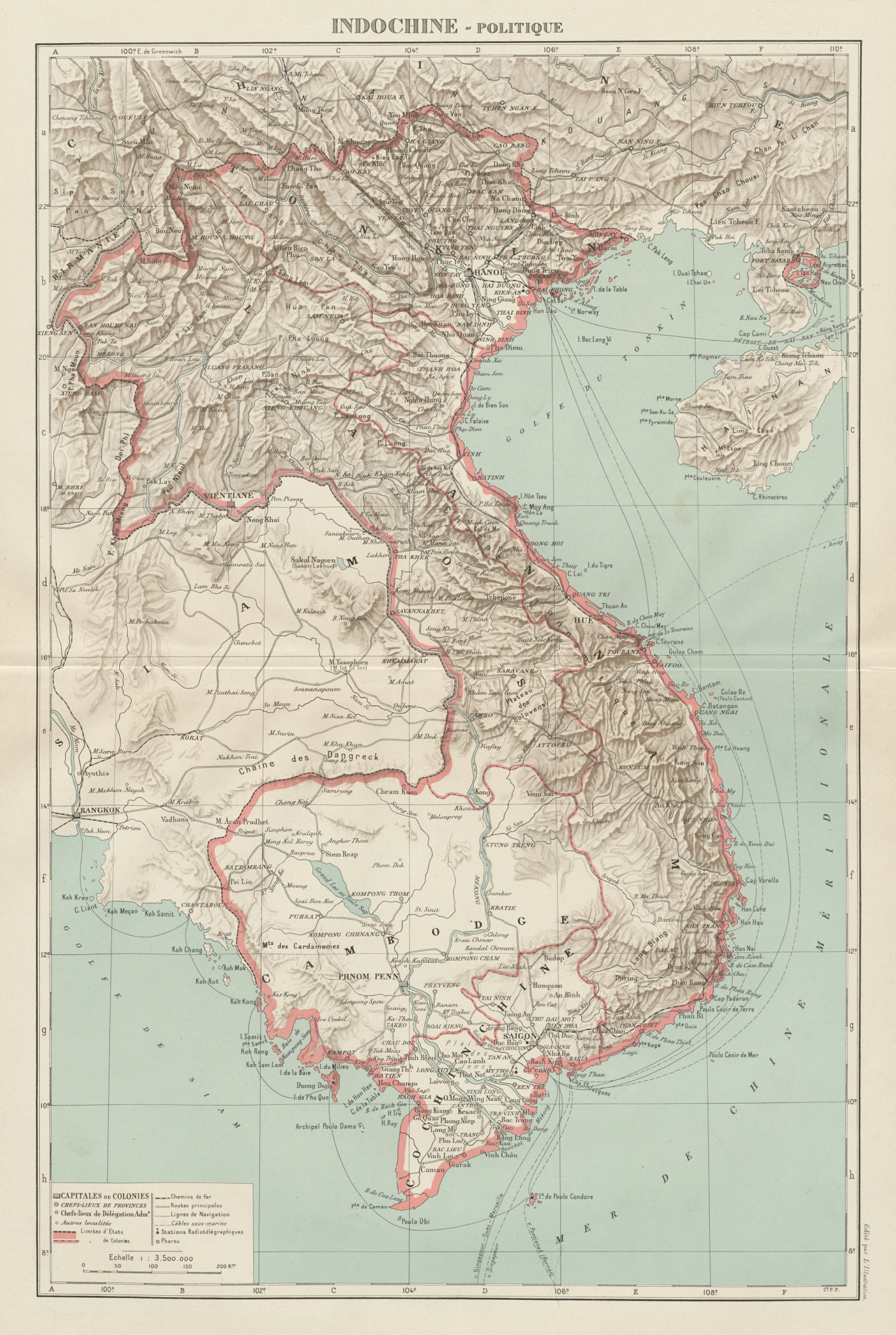 Associate Product COLONIAL FRENCH INDOCHINA. Indochine française. Politique. Political 1929 map
