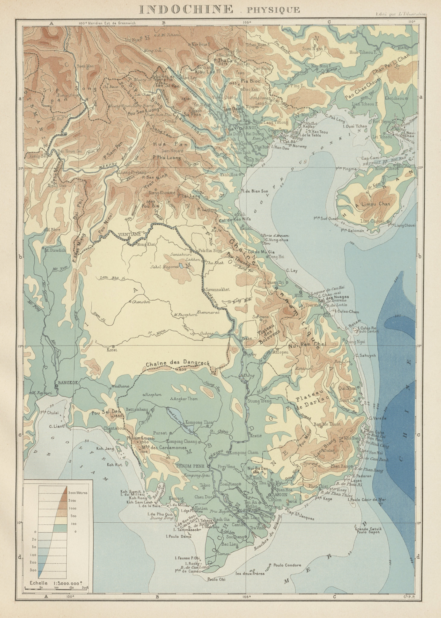 Associate Product COLONIAL FRENCH INDOCHINA. Indochine française. Physique. Physical 1929 map