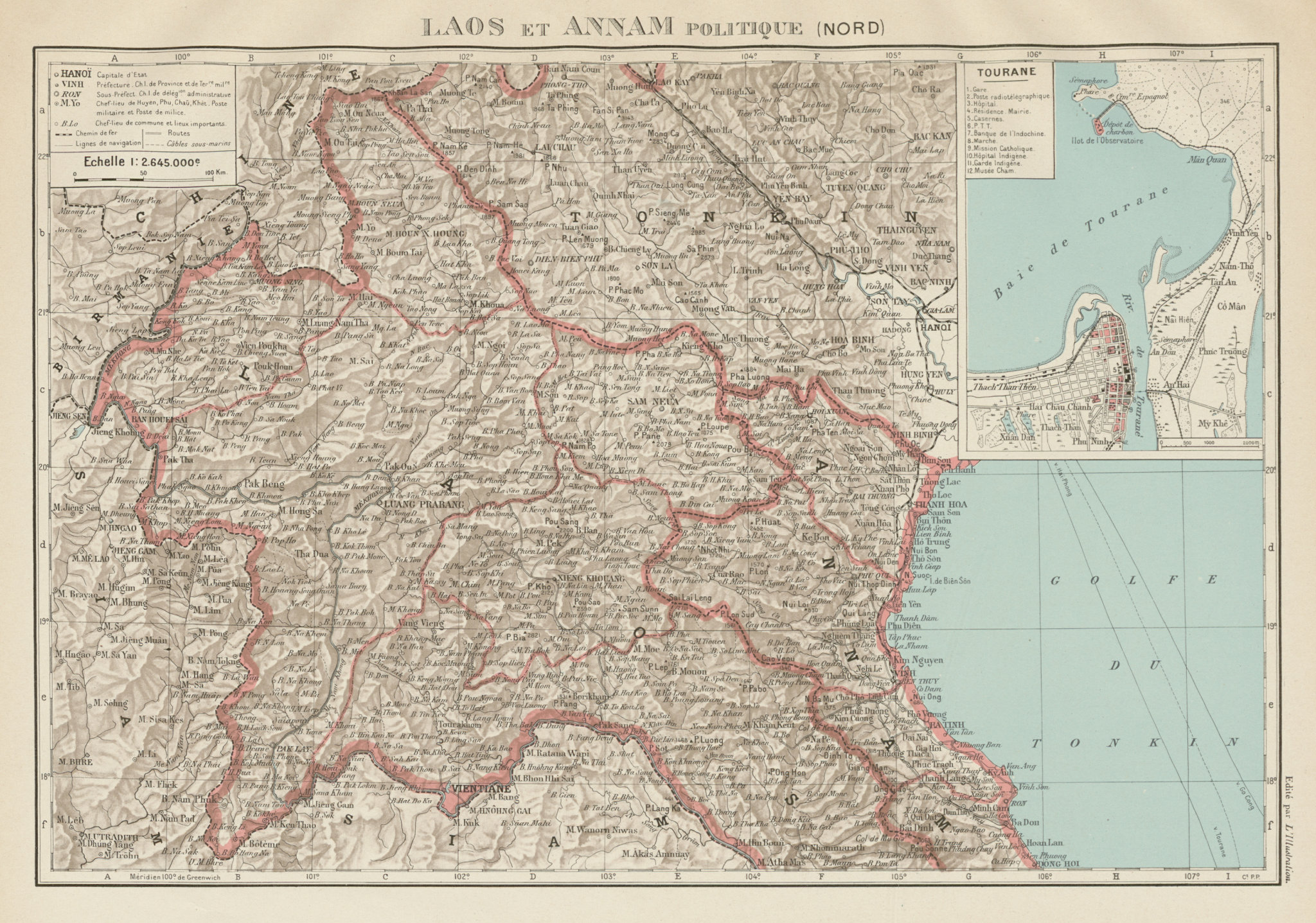 Associate Product FRENCH INDOCHINA. N Laos & Annam. Vietnam. Tourane (Da Nang) city plan 1929 map