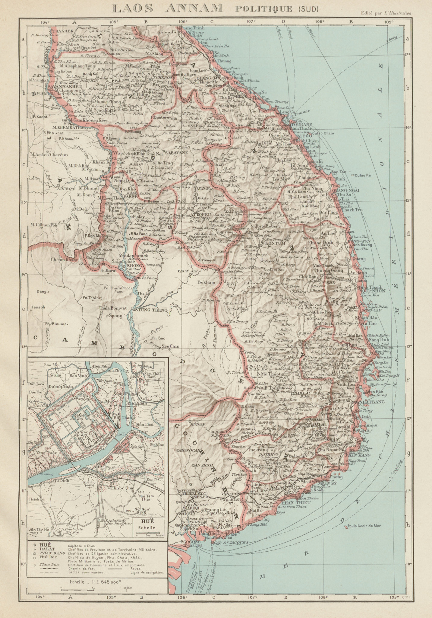 Associate Product FRENCH INDOCHINA Indochine. South Laos & Annam. Vietnam. Hue city plan 1929 map