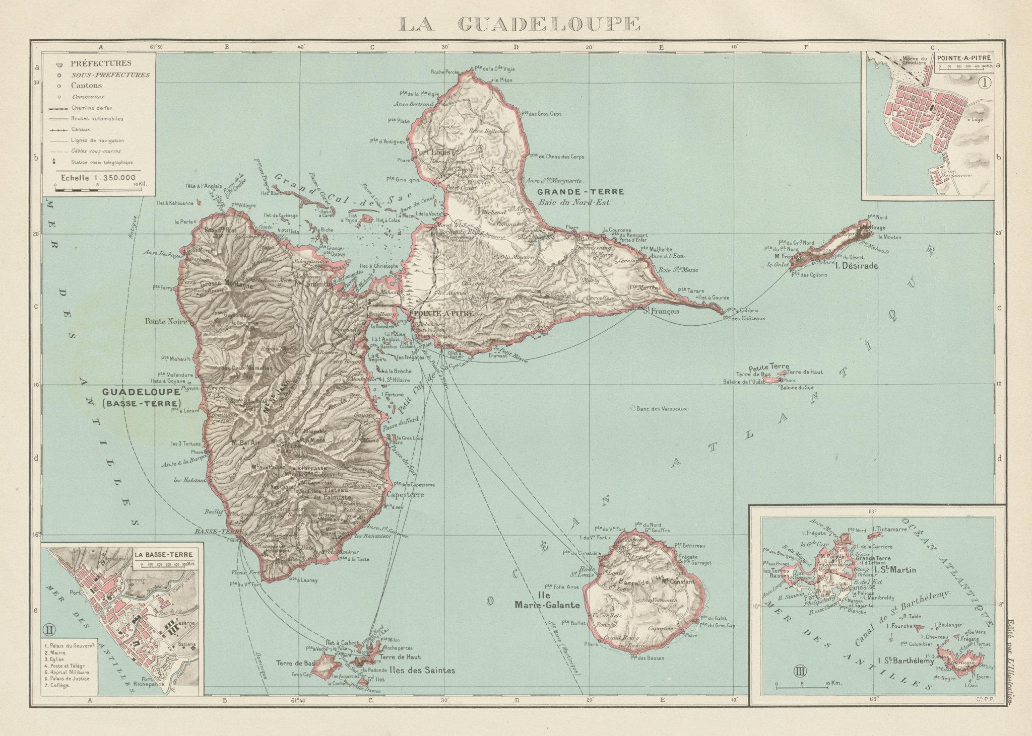 Associate Product GUADELOUPE. Basse-Terre; Pointe-à-Pitre. St-Martin Saint-Barthélemy 1929 map