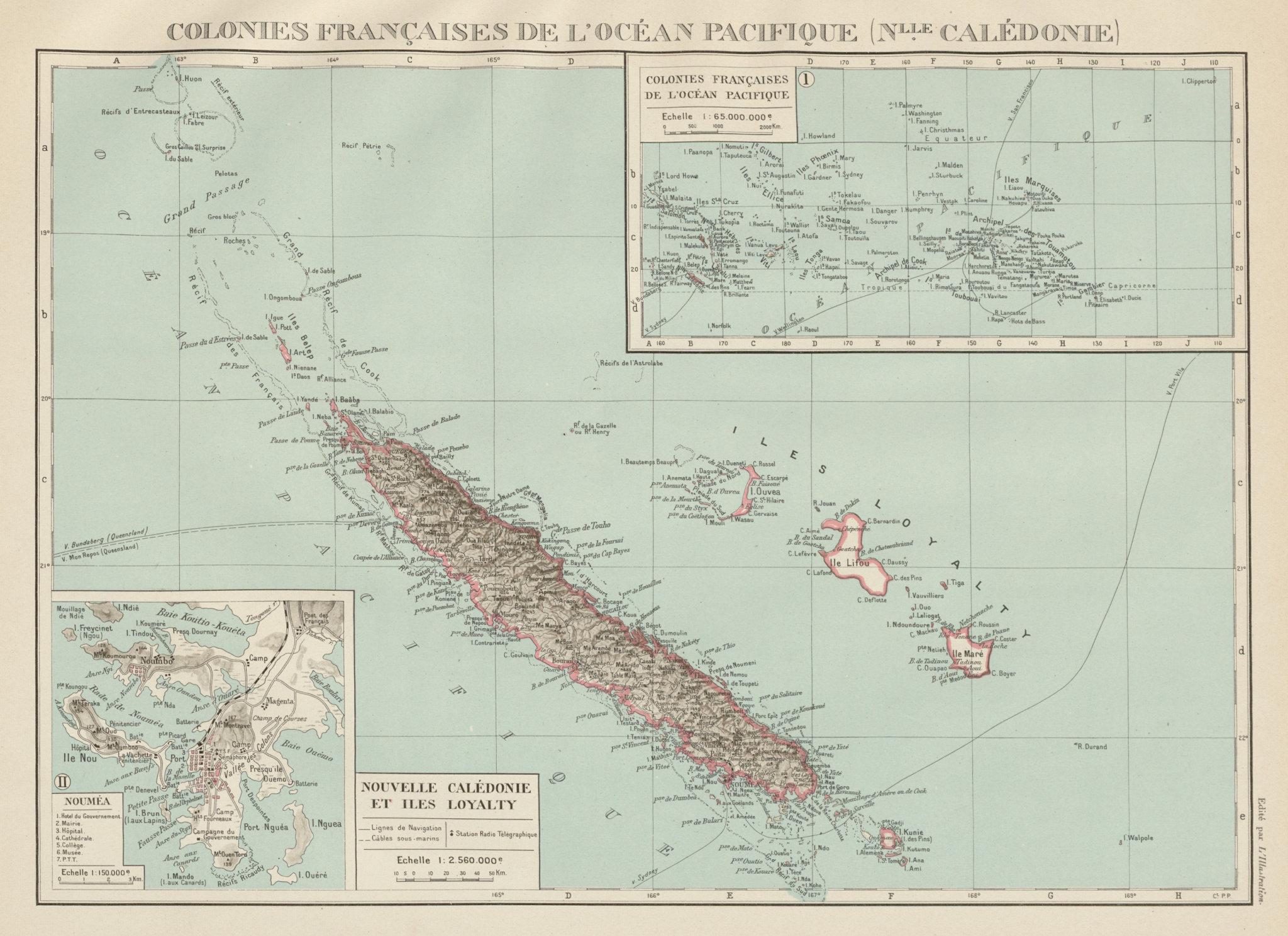 Associate Product NEW CALEDONIA. Nouvelle Caledonie. Loyalty Islands/Îles Loyauté. Nouméa 1929 map