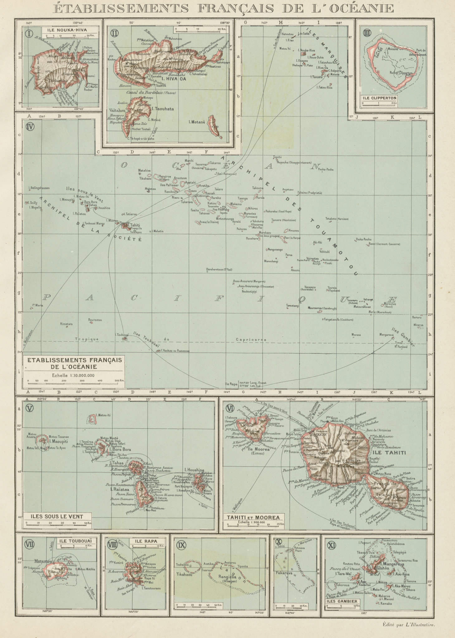 Associate Product FRENCH POLYNESIA. Polynésie française. Tahiti Moorea Nuka Hiva Oa 1929 old map