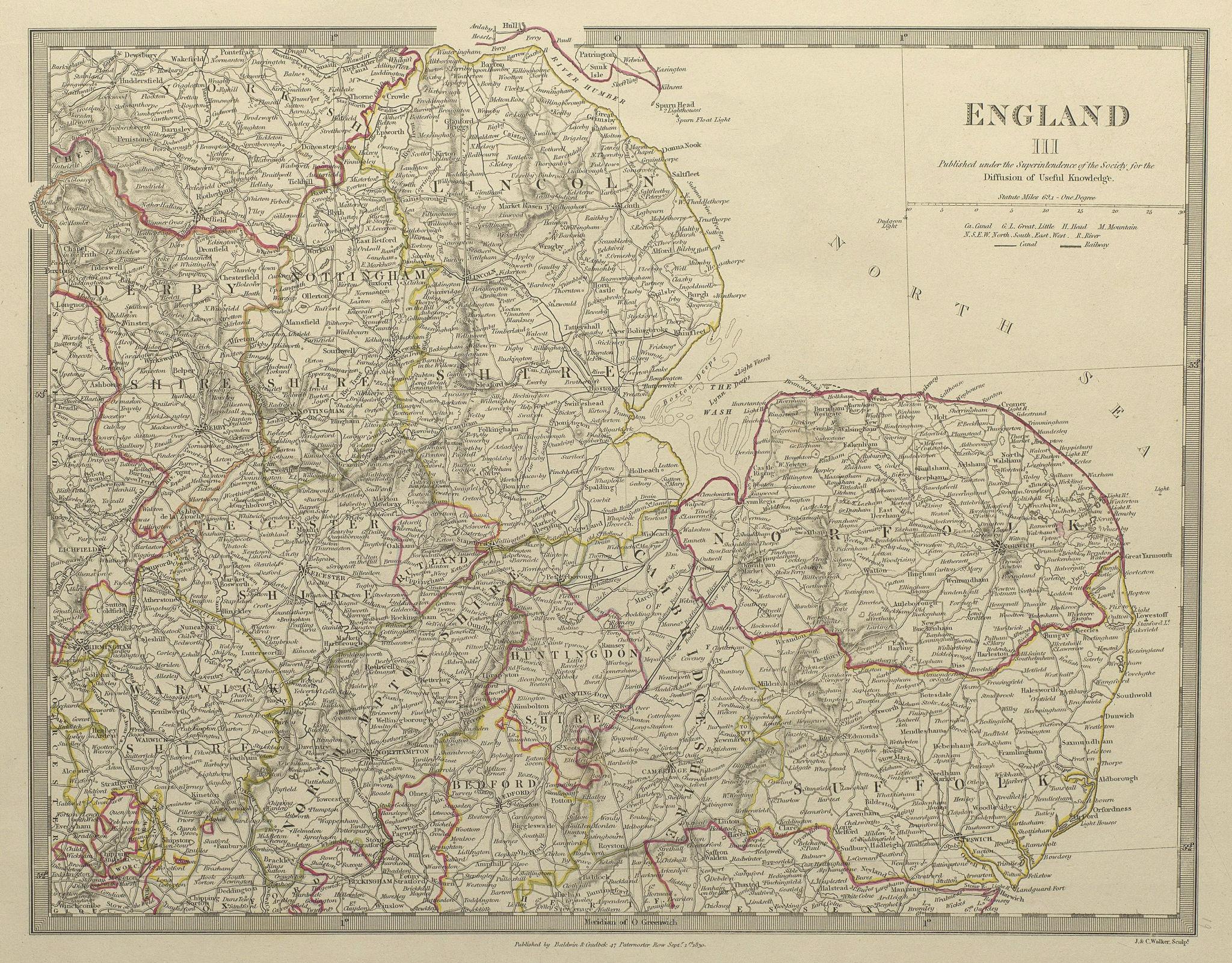 ENGLAND EAST Norfolk Suffolk Cambs Lincs Leics Derbys Notts. SDUK 1844 old map