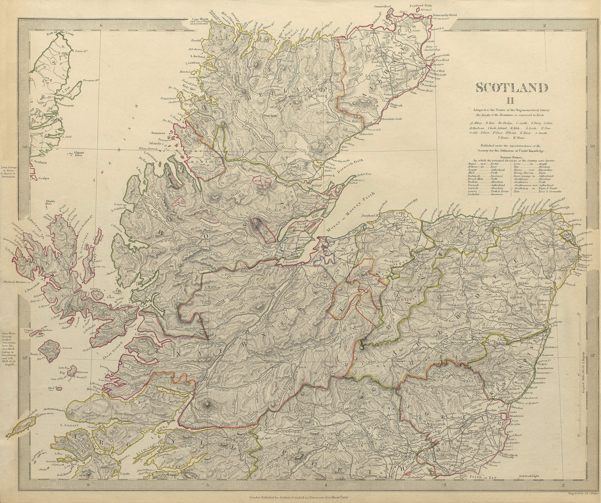 Associate Product SCOTLAND NORTH. Shows castles & kirks. Inset former county names SDUK 1844 map