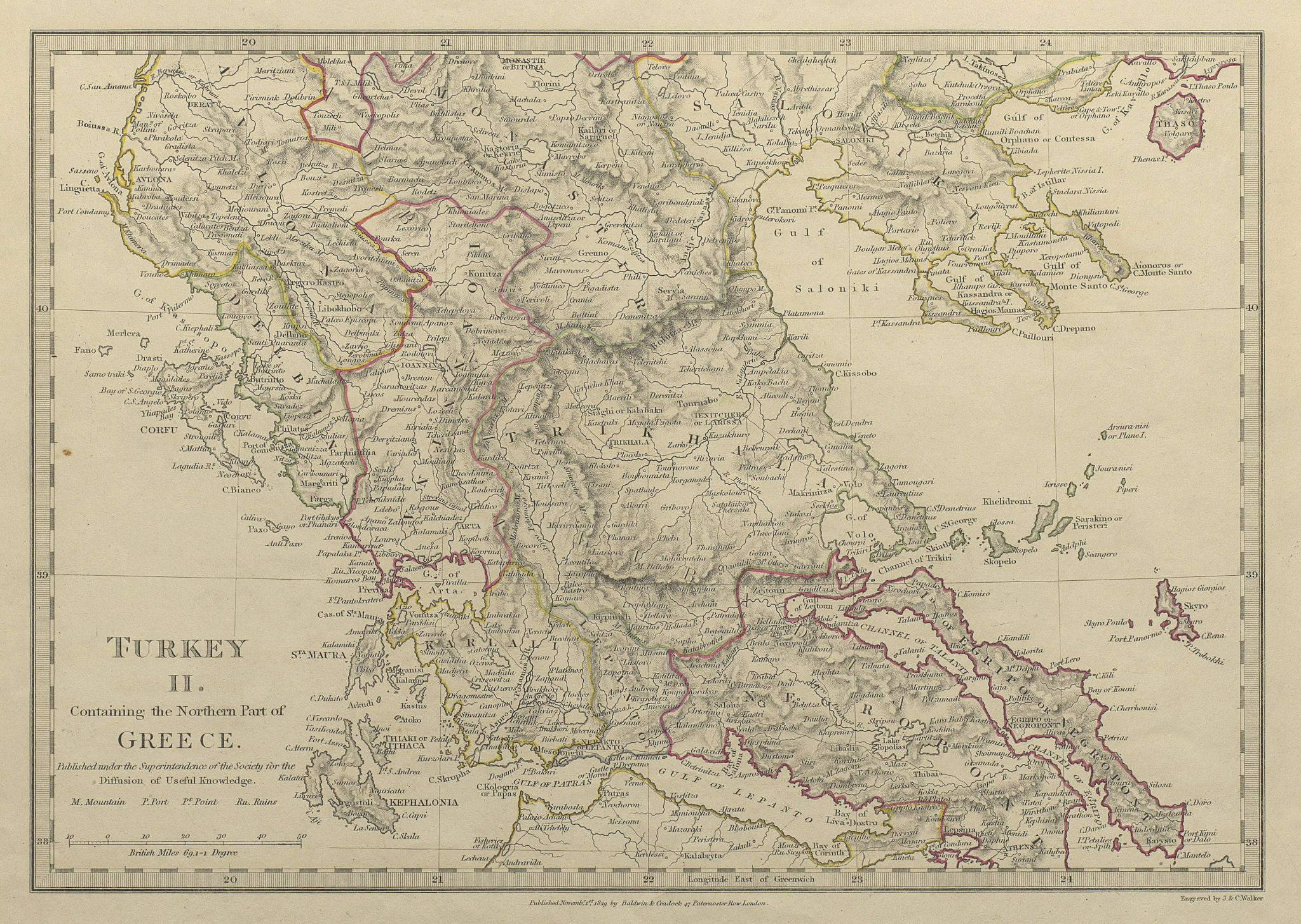 Associate Product GREECE.Corfu Ionian Euboea Kephalonia Saloniki Lepanto Ioannina SDUK 1844 map