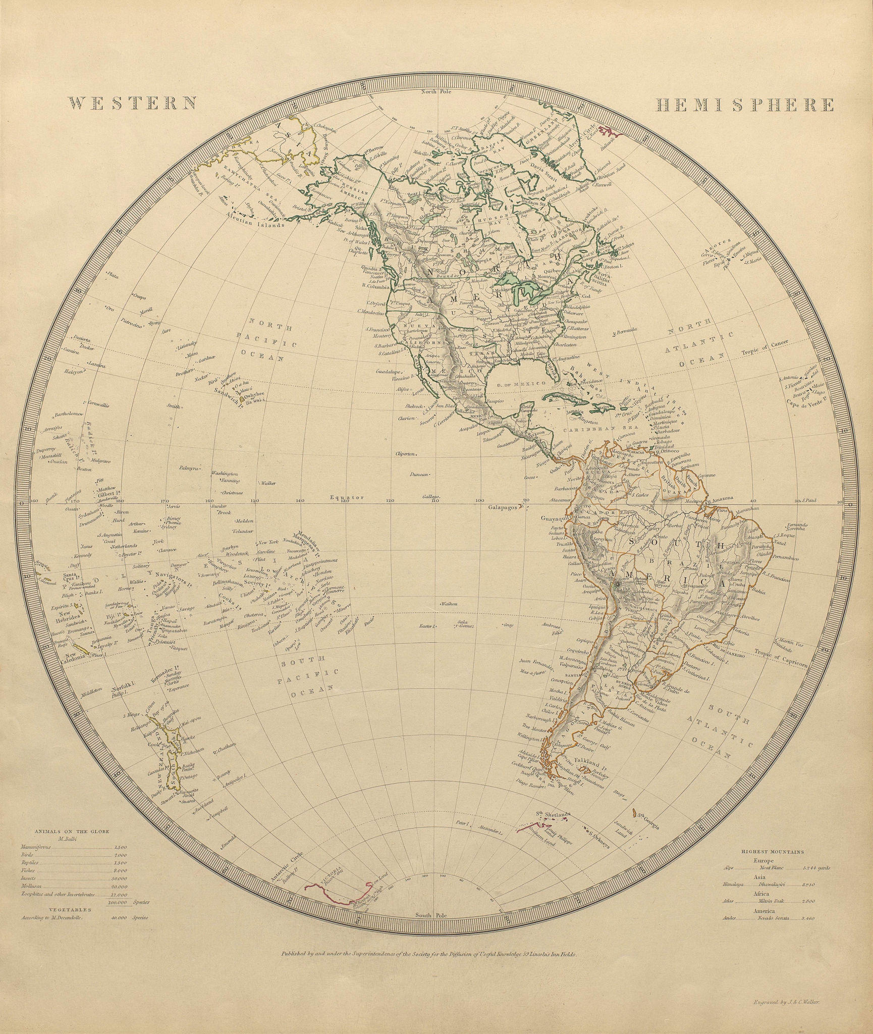 WESTERN HEMISPHERE Americas Mexican Texas New Zealand Pacific SDUK 1844 map
