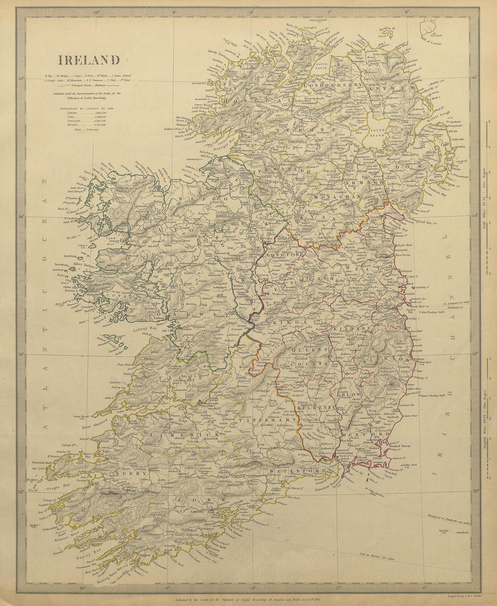 IRELAND with roads. 1st Irish railway Kingstown-Dublin-Drogheda SDUK 1844 map