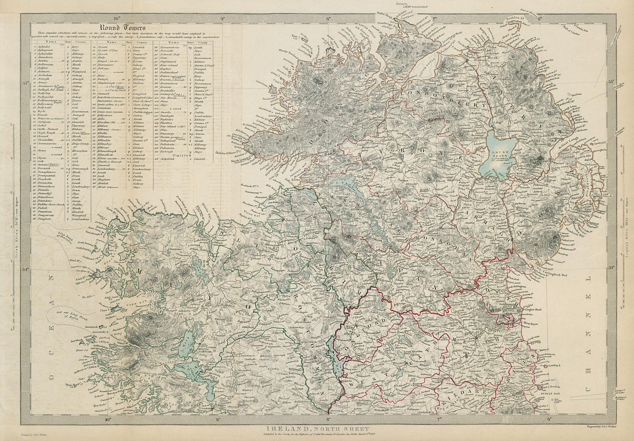 IRELAND North Sheet. Cloigtheach Cloigthithe. List of round towers SDUK 1844 map