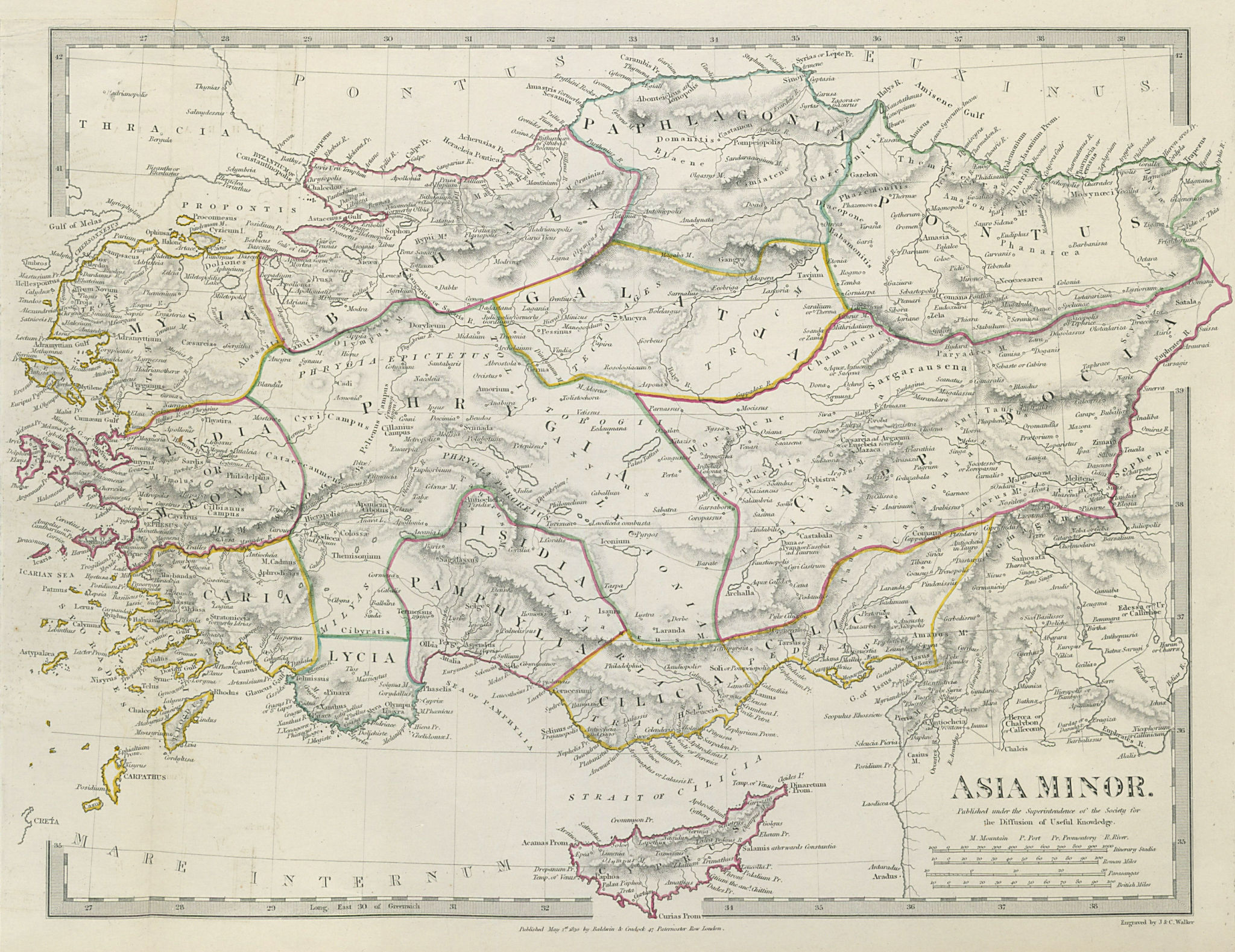 ANCIENT ASIA MINOR Turkey Cyprus Cappadocia Galatia Phrygia SDUK 1844 old map