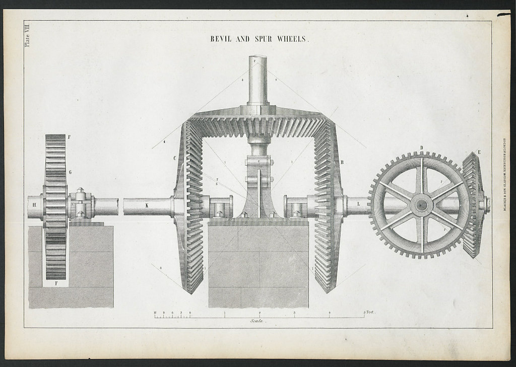 VICTORIAN ENGINEERING DRAWING Bevil and spur wheels 1847 old antique print