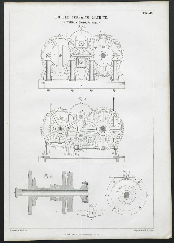 19C ENGINEERING DRAWING Double screwing machine. William More, Glasgow 2 1847