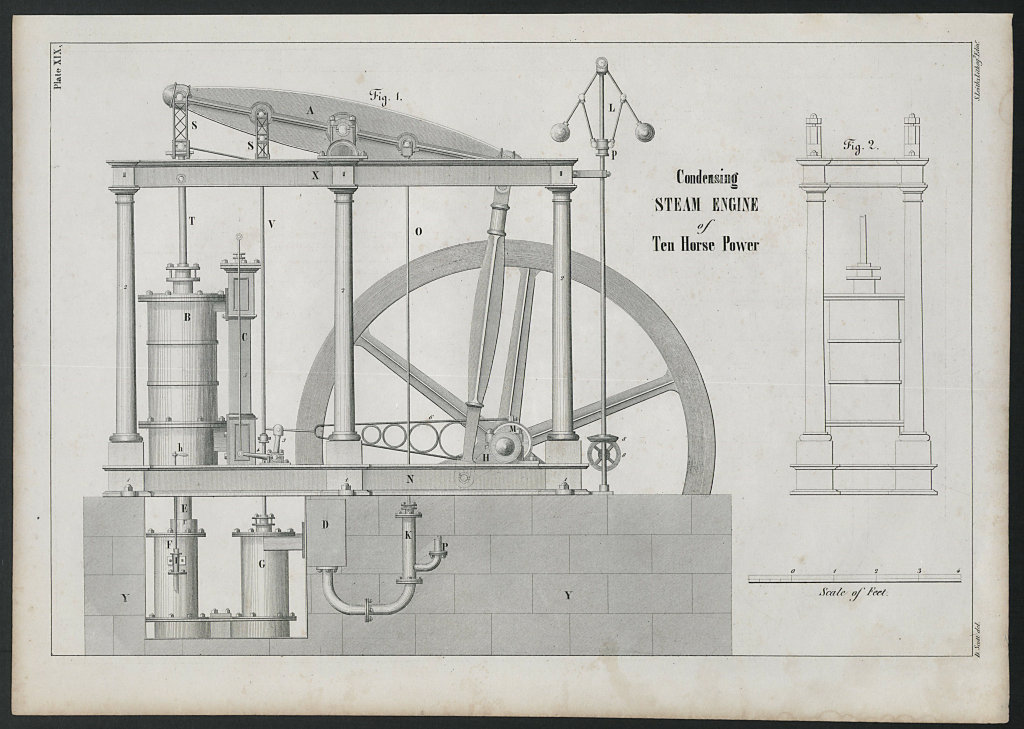 VICTORIAN ENGINEERING DRAWING 10 Horse power Condensing steam engine 1847