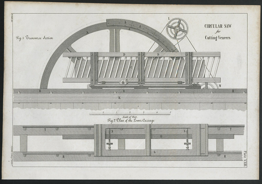 VICTORIAN ENGINEERING DRAWING Circular saw for cutting veneers. Section 1847