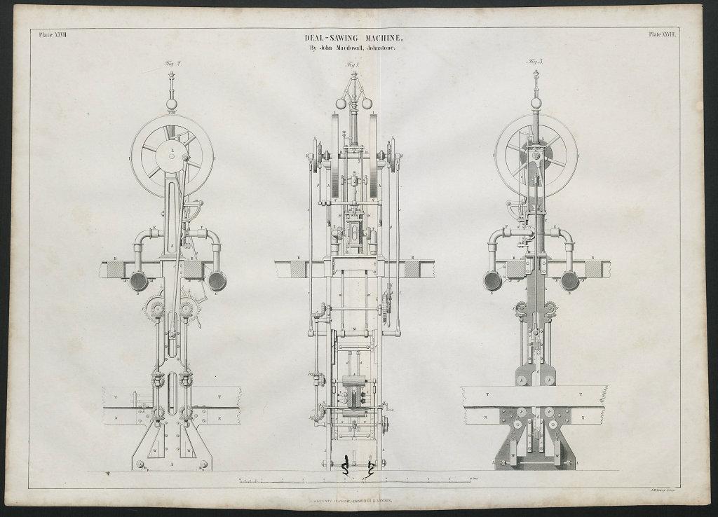 VICTORIAN ENGINEERING DRAWING Deal-sawing machine. John Macdowall Johnstone 1847