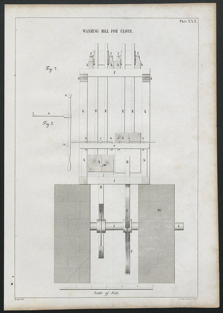VICTORIAN ENGINEERING DRAWING Washing mill for cloth (2) 1847 old print