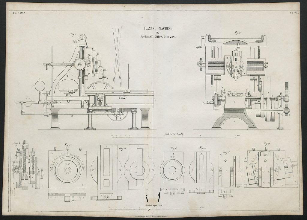 VICTORIAN ENGINEERING DRAWING Planing machine by Archibald Mylne, Glasgow 1847