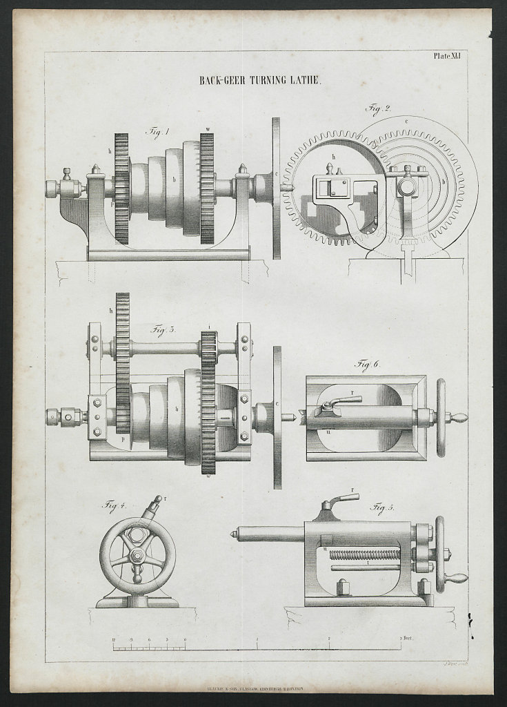 VICTORIAN ENGINEERING DRAWING Back-geer turning lathe 1847 old antique print