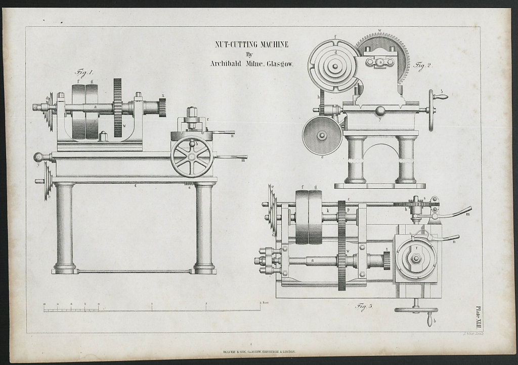 VICTORIAN ENGINEERING DRAWING Nut cutting machine. Archibald Milne, Glasgow 1847