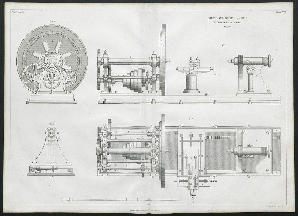 19C ENGINEERING DRAWING Boring & turning machine. Kinmonds, Hutton & Steel 1847