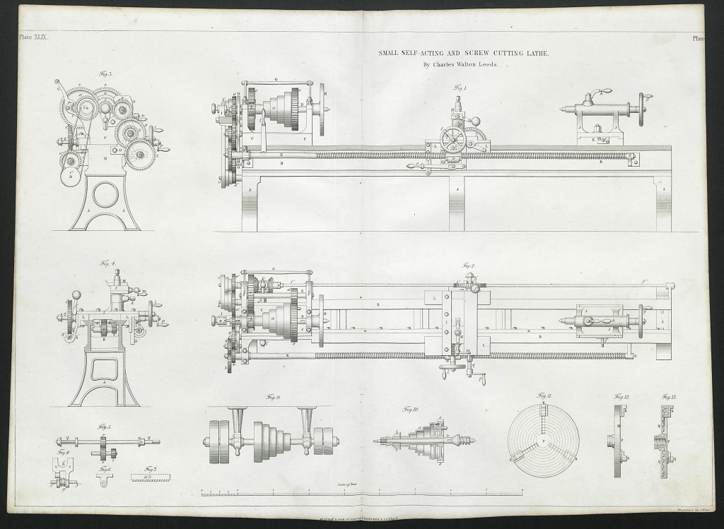 19C ENGINEERING DRAWING Self-acting & screw cutting lathe. Walton, Leeds 1847