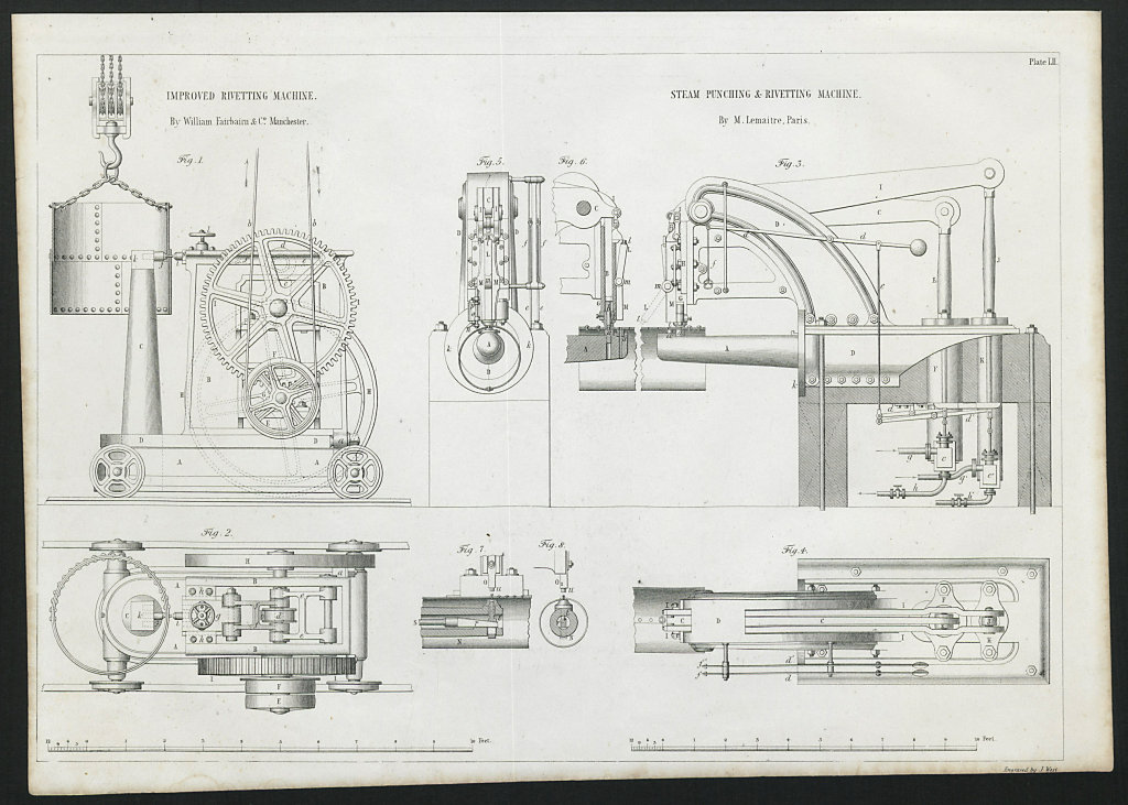 VICTORIAN ENGINEERING DRAWING Steam punching & rivetting machines. Lemaitre 1847