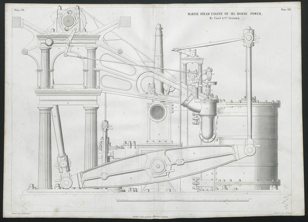 19C ENGINEERING DRAWING 145 HP marine steam engine. Caird & Co. Greenock 1 1847