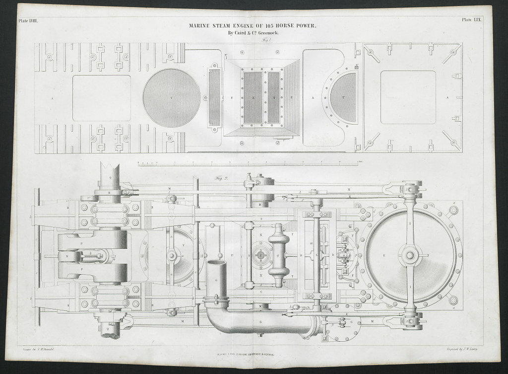 19C ENGINEERING DRAWING 145 HP marine steam engine. Caird & Co. Greenock 2 1847