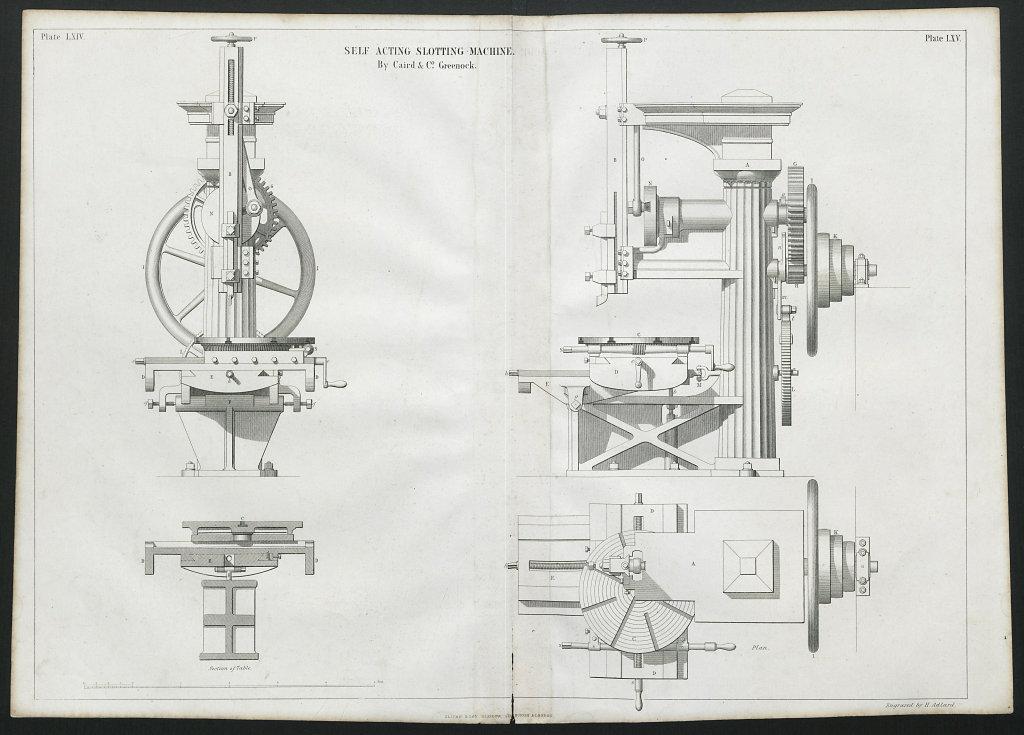 19C ENGINEERING DRAWING Self acting slotting machine. Caird & Co., Greenock 1847