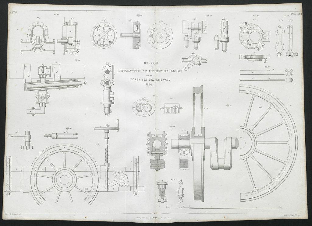 19C ENGINEERING DRAWING Locomotive engine details. North British Railway 1847
