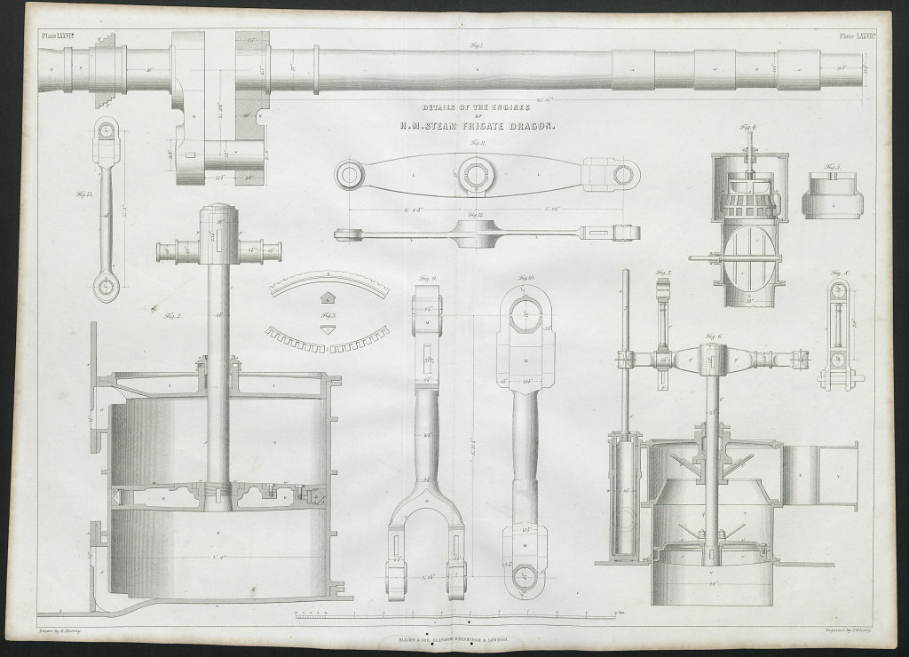 VICTORIAN ENGINEERING DRAWING HM Steam Frigate Dragon's engines detail 1847