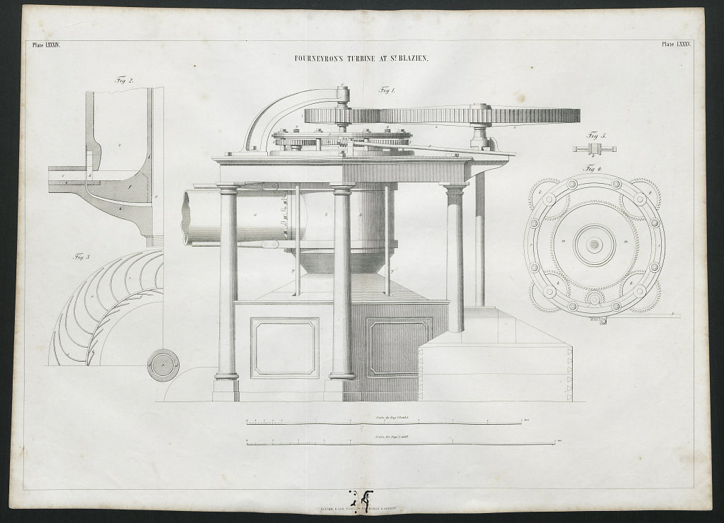 VICTORIAN ENGINEERING DRAWING Fourneyron's turbine at St. Blasien (1) 1847