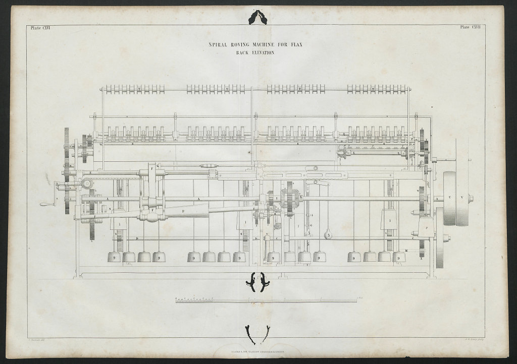 VICTORIAN ENGINEERING DRAWING Spiral roving machine for flax, back 1847 print