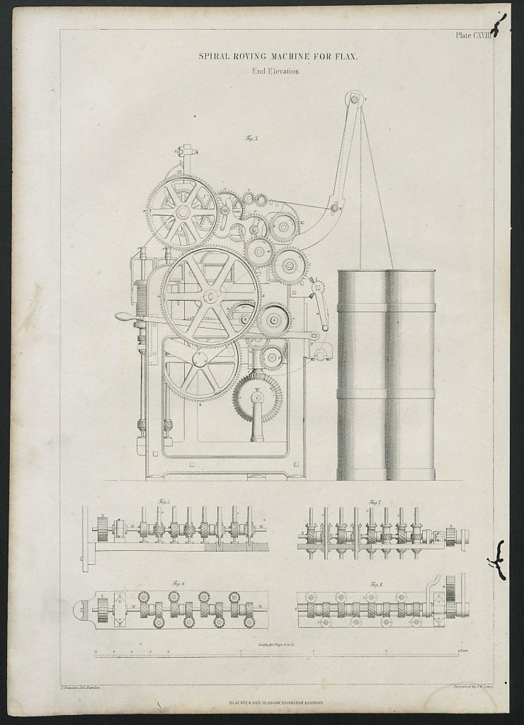 VICTORIAN ENGINEERING DRAWING Spiral roving machine for flax end elevation 1847