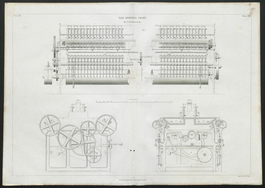 VICTORIAN ENGINEERING DRAWING Flax spinning frame by P. Fairbairn, Leeds 1847